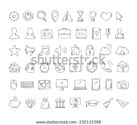 Vector Business hand drawn doodle icon set - stock vector
