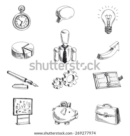 Vector business hand drawn set. Sketch. Icon collection.  - stock vector
