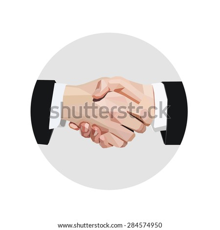 Vector business handshake - stock vector