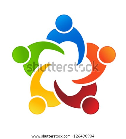 Vector Business Icon Meeting 5. Group of People - stock vector