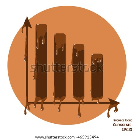 Vector business icon of chart. Chart object made from chocolate.