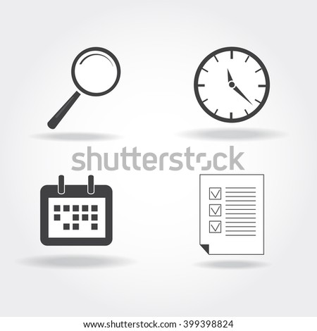 Vector business icon set. Template for web-design, studying pictogram.Isolated elements. Magnifier. clock, schedule, empty form icons. Time concept. Investigation tools. Flat design collection - stock vector
