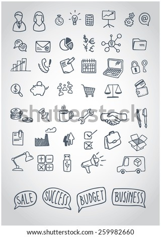 vector business icons doodle with speech balloons