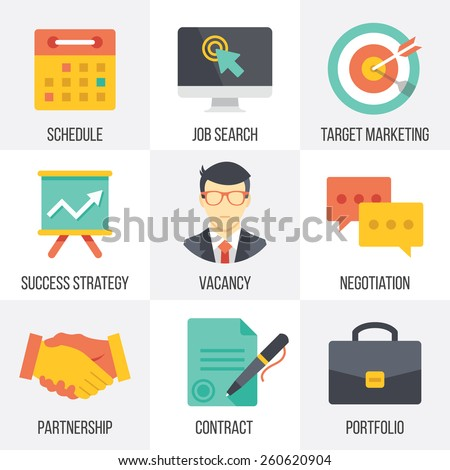 Vector business icons set. Flat design. Isolated on white background. Set 1. - stock vector