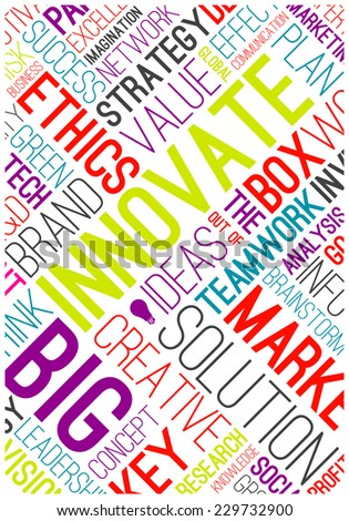 Vector business Ideas poster. Market related typographic words cloud concept. - stock vector