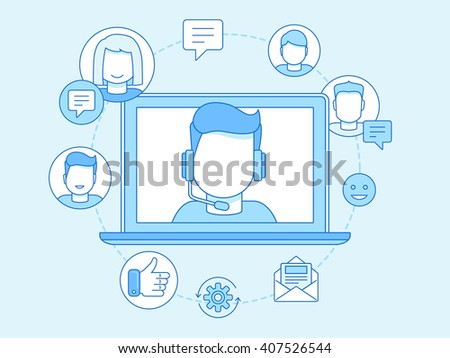 Vector business illustration in trendy linear style and blue colors related to customer support and online consultant - manager on the screen of laptop - stock vector