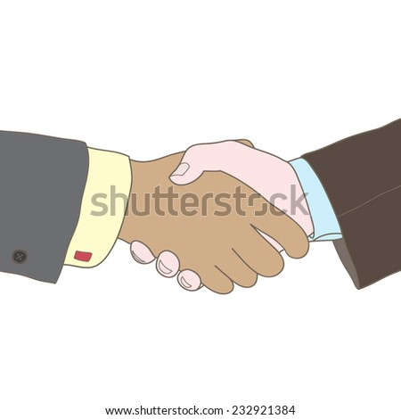 Vector business illustration with handshake - stock vector