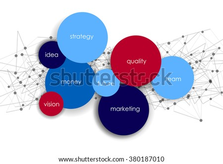 Vector business infographics with circle bubbles / mission, vision, future and strategy motive or theme on dark background - stock vector