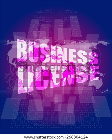 vector business license on digital touch screen - stock vector