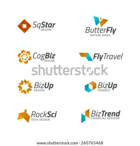 Vector Business logo templates. Abstract geometric icon design shapes, plane, butterfly, cog, star, rocket for technology, business, spa, nature, travel themes. - stock vector