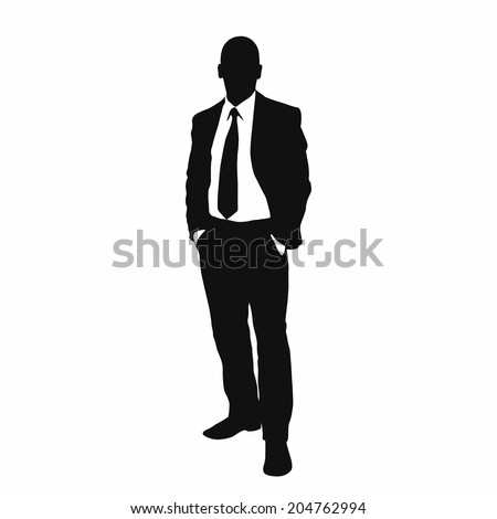 vector business man black silhouette standing full length over white background hold hands in pockets wear suit and tie - stock vector