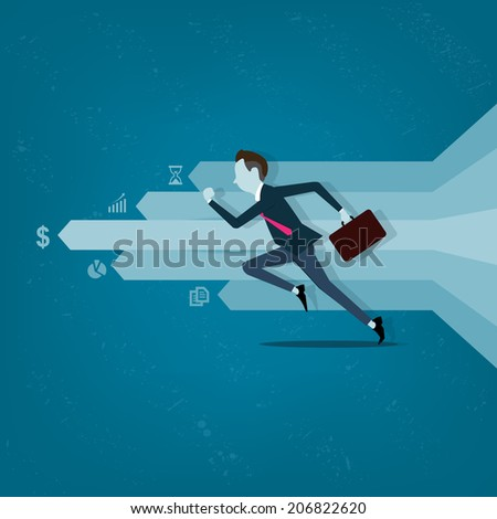 Vector business man competitive with business on info graph - stock vector