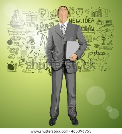 Vector business man in suit looking up for idea, with laptop in his hands