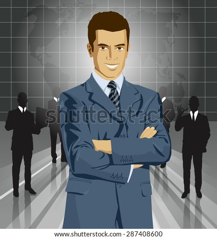 Vector business man in suit with folded hands. All layers well organized and easy to edit - stock vector