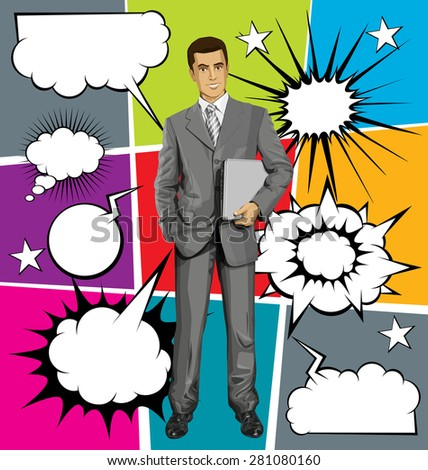 Vector business man in suit with laptop in his hands, with speech and thought bubbles - stock vector