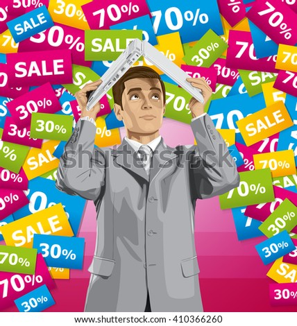 Vector business man on sale hides under the laptop in his hands - stock vector