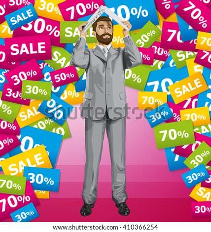Vector business man with beard on sale hides under the laptop in his hands - stock vector