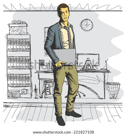 Vector business man with laptop in his hands - stock vector