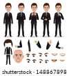Vector business man with parts of the body template for design work - stock photo