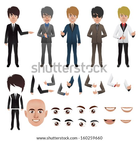 Vector business man with parts of the body template for design work - stock vector