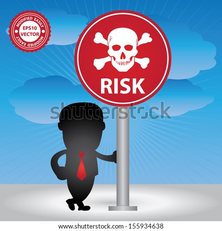 Vector : Business Management or Business Solution Concept Present By Businessman and Risk Traffic Sign in Blue Sky Background - stock vector