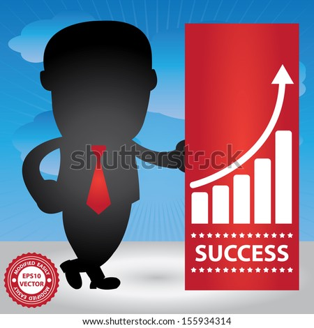 Vector : Business Management or Business Solution Concept Present By Businessman and The Success Banner With Business Growth Graph in Blue Sky Background - stock vector