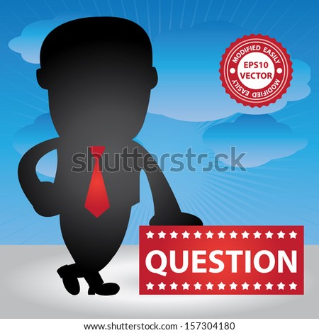 Vector : Business Management or Business Solution Concept Present By Businessman Hand On Question Banner in Blue Sky Background  - stock vector