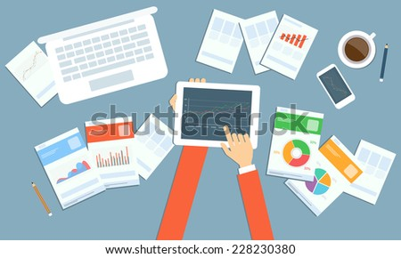 Vector business marketing  investment planning on device technology - stock vector