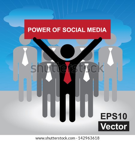 Vector : Business, Marketing or Financial Concept Present By Group of Businessman With Red Power of Social Media Sign in Blue Sky Background - stock vector