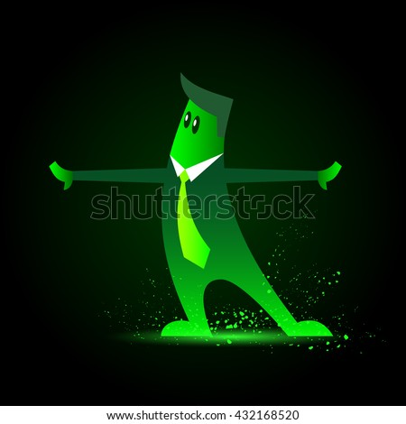 Vector  business neon funny man character. Character in a suit and tie. Cartoon office worker with his hands divorced in the sides. - stock vector