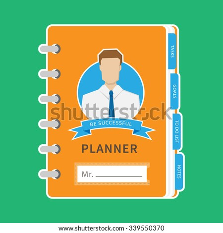Vector business organizer (planner) illustration with blue bookmarks.  - stock vector