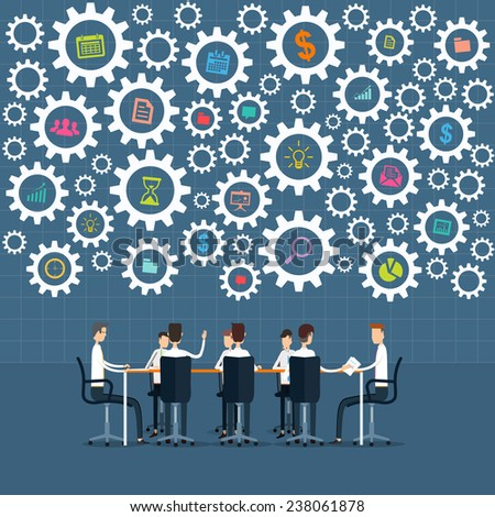 vector business people meeting and brainstorm project process - stock vector