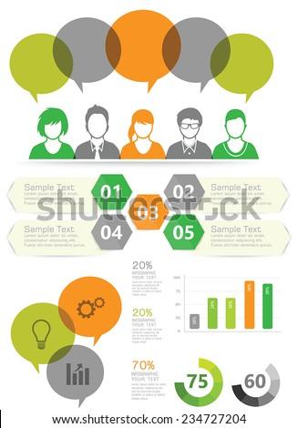 Vector business people set  - stock vector