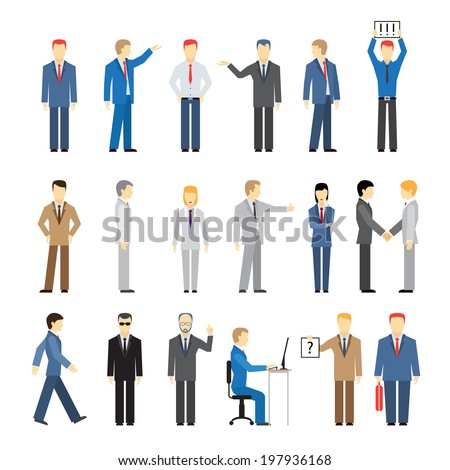 vector business peoples in different poses Isolated on white background - stock vector