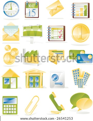 Vector business related icon set - stock vector
