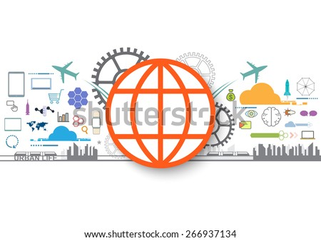 vector business social icon, internet of things  - stock vector