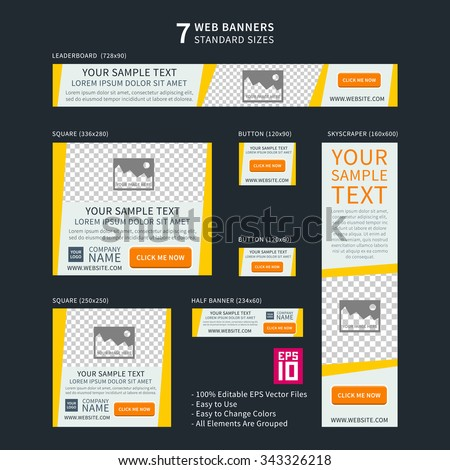 Vector business standard size Web Banners Set. Modern design concept for corporate website advertising.  - stock vector