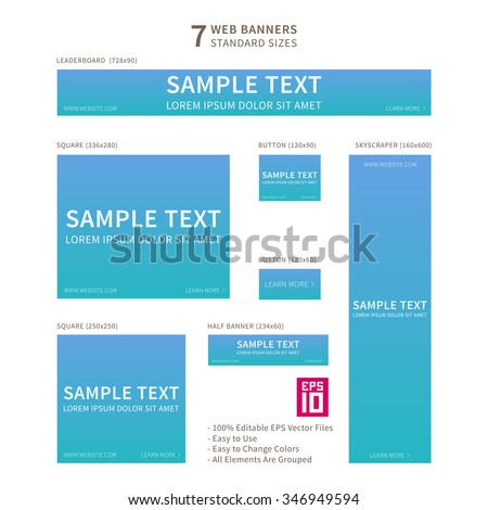 Vector business standard size Web Banners Set with gradient background. Modern design concept for corporate website advertising.