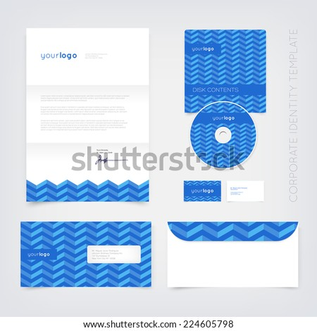 Vector business stationary design template with blue retro chevron pattern. Letter, envelope, cd and business cards. Modern branding collection. - stock vector