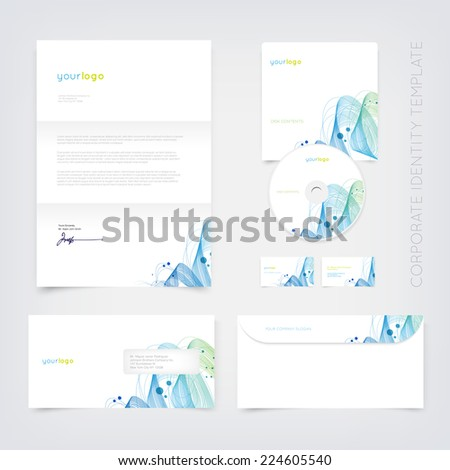 Vector business stationary design template with curly abstract dynamic wave. Letter, envelope, cd and business cards. Modern branding collection. - stock vector
