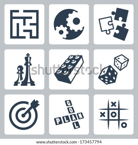 Vector business strategies and development 'game concept' icons set - stock vector