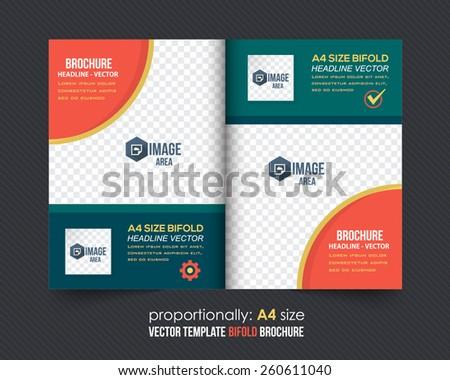 Vector Business Style Bi-Fold Brochure Design. Corporate Leaflet, Cover Template - stock vector