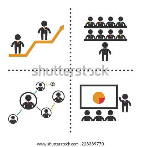 Vector business symbol set with black color man, diagram, social network and study process. EPS 10 - stock vector