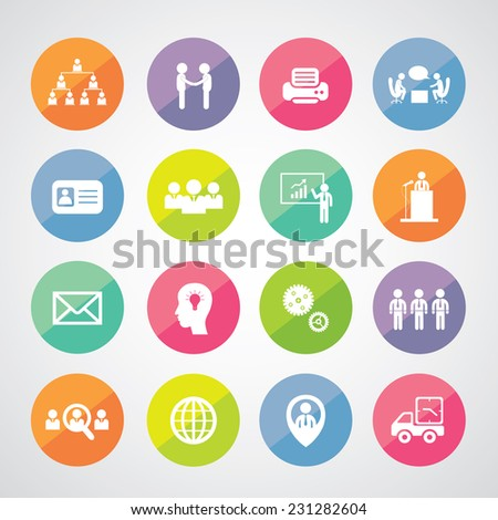 Vector business teamwork icon set - stock vector