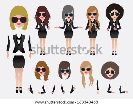 Vector business woman, With character parts of the body template for design work - stock vector