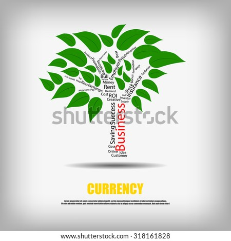 Vector : Business words in tree with leaves business background - stock vector