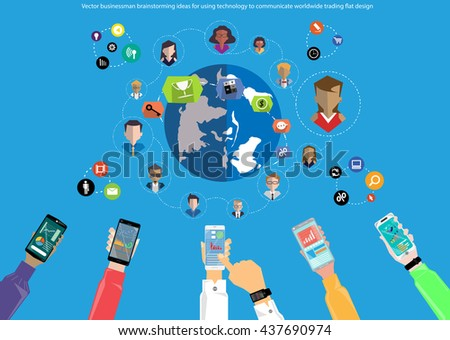 Vector businessman brainstorming ideas for using technology to communicate worldwide trading flat design with a mobile phone - stock vector
