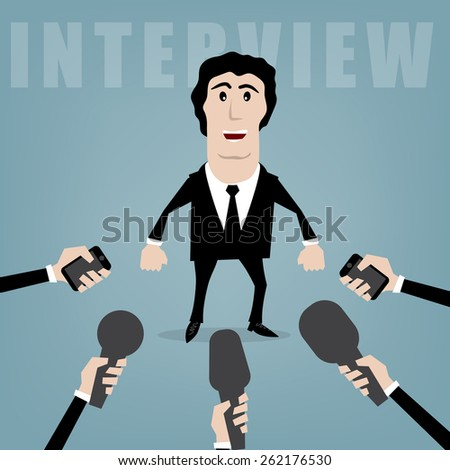 vector businessman giving an interview to journalists  - stock vector