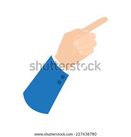 Vector businessman hand icon - showing sign, pointing finger shows up right direction, hand in business suit sleeve, isolated on white - stock vector