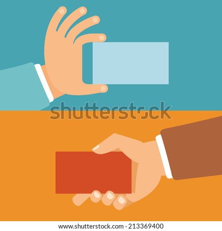 Vector businessman hands holding id cards in flat style - paper business cards